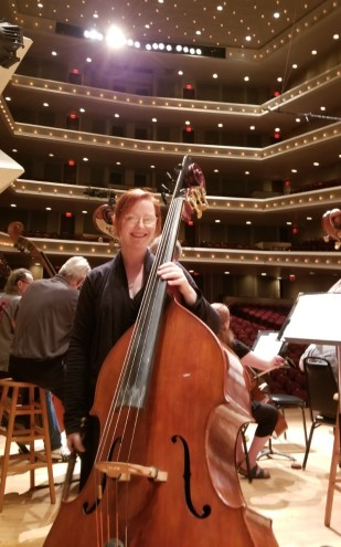 Marlo Williams with bass at Flint Symphony
